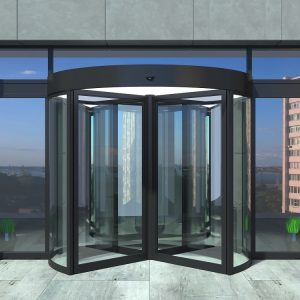 Automatic black rotating doors office